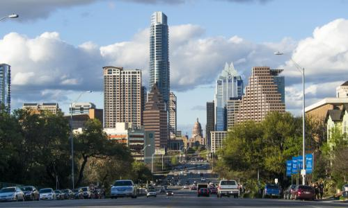 View of downtown Austin from South Congress