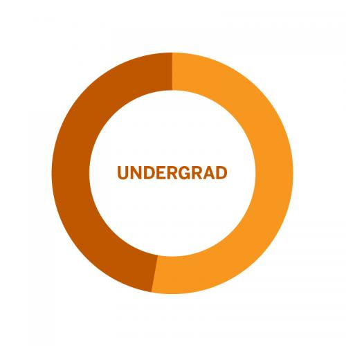 Wheel chart of population of Undergraduates by Gender at the University of Texas