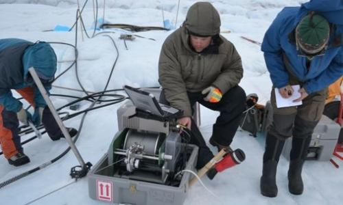 Geologists performing research in Antarctica.