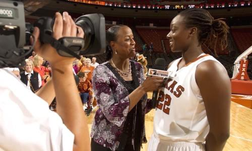 UT Austin student-athlete being interviewed by Longhorn Network.