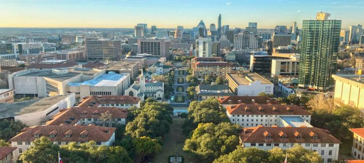 Austin, Texas skyline from UT campus