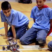 Elementary students at Manor ISD Elementary Robotics Expo.