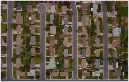 Aerial of neighborhood