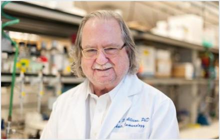 Portrait of Jim Allison in his laboratory