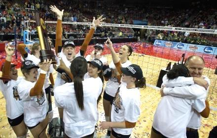 Texas volleyball team celebrates winning the NCAA championship in 2012.