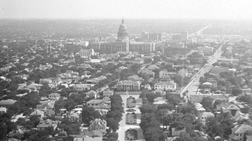 City of Austin skyline from UT Tower observation deck in 1936