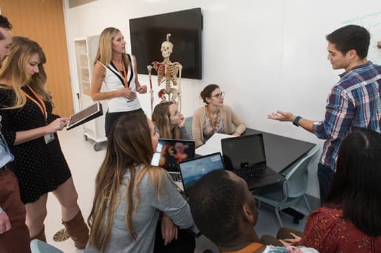Dell Medical School students engaged in cross-disciplinary discussion on project