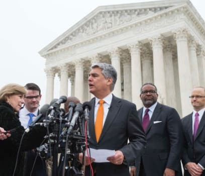 UT President Greg Fenves in front of the Supreme Court defending UT admissions process