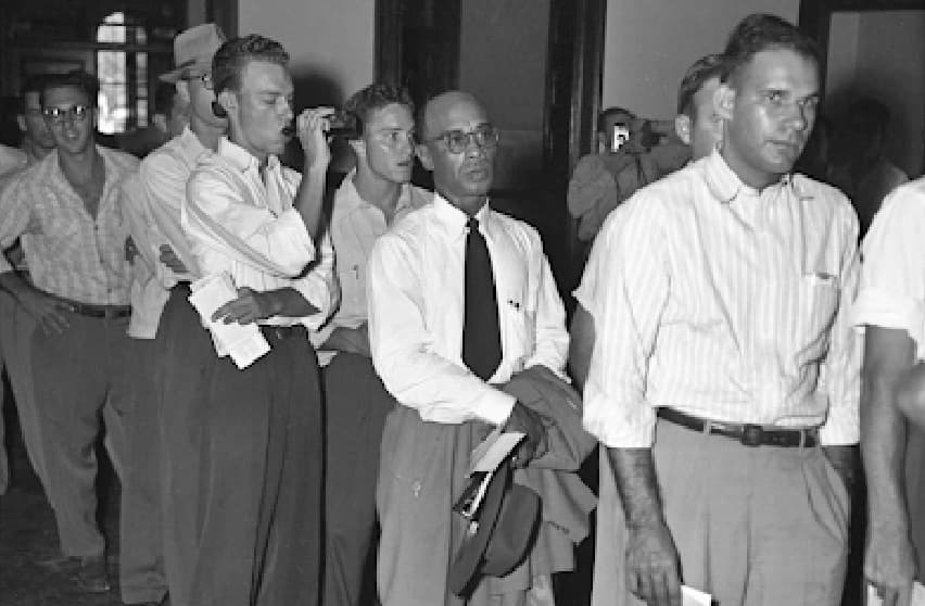 Herman Sweatt waiting in line to become the university's first black student