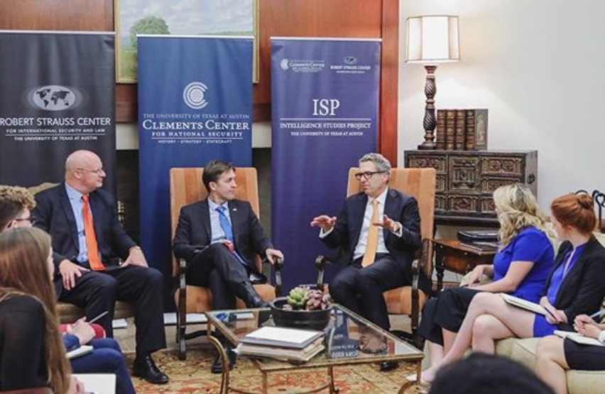 Round table discussion at the LBJ School with leaders from Strauss Center & Clements Center on the Intelligence Project