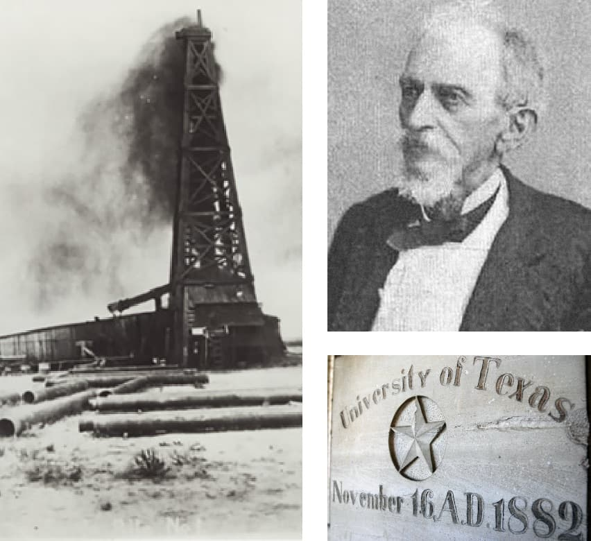 Collage image of Santa Rita oil rig, Ashbel Smith portrait, and a UT Austin cornerstone from 1882