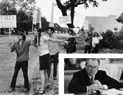 Black & white collage of students protesting, Frank Erwin sitting in corner
