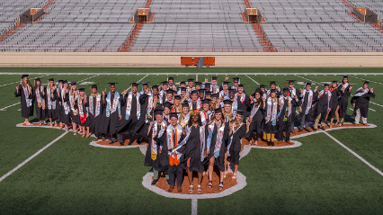 Texas Longhorn student athletes on the football field